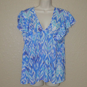Sz XS Oliphant Blue White V-Neck Blouse